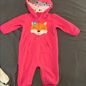 Carter's One Pieces - Babygirl pink fox one piece outfit.